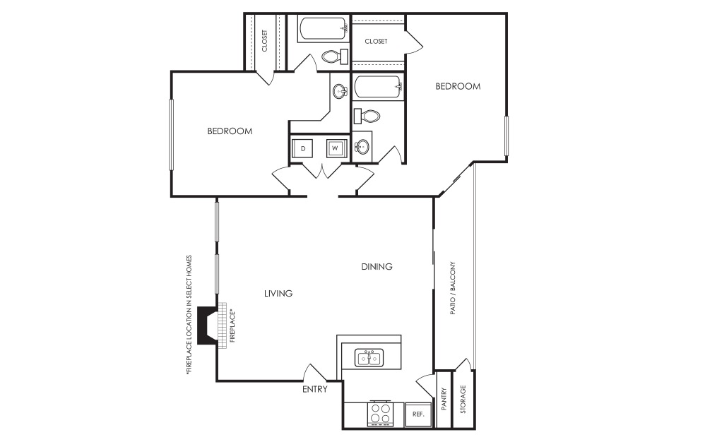 B4 - 2 bedroom floorplan layout with 2 baths and 1018 square feet.