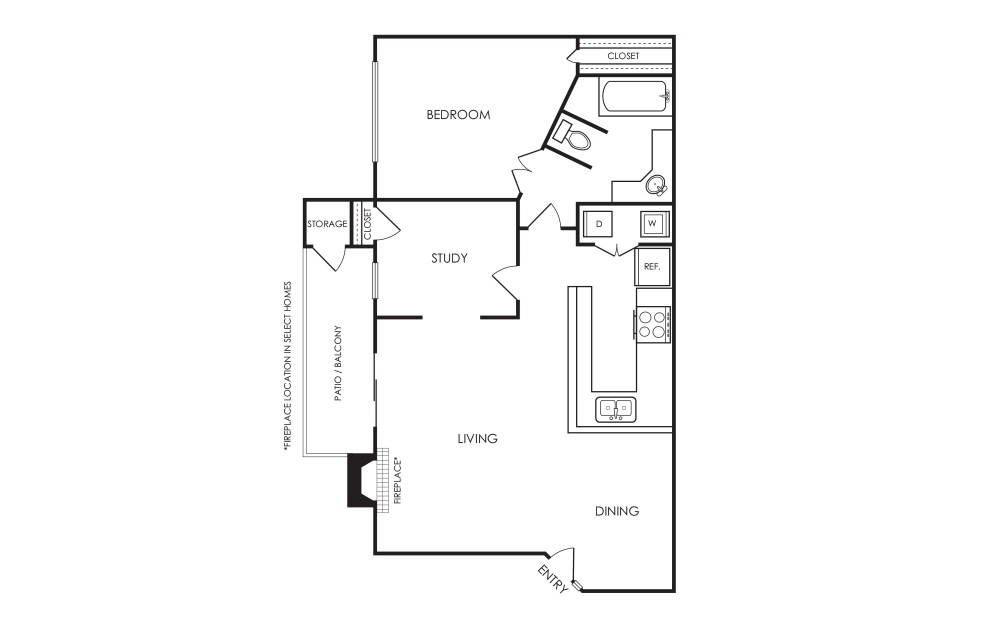 B1 - 1 Bed + Study - 1 bedroom floorplan layout with 1 bath and 883 square feet.