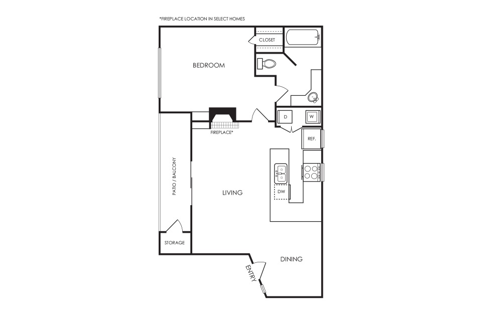 A6 - 1 bedroom floorplan layout with 1 bath and 833 square feet.