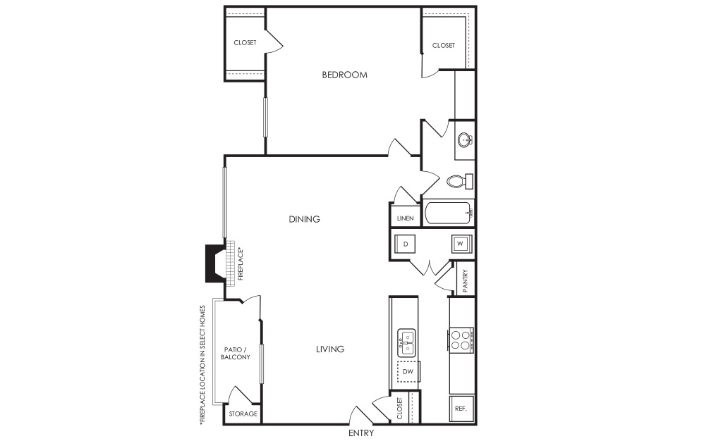 A5 - 1 bedroom floorplan layout with 1 bath and 756 square feet.