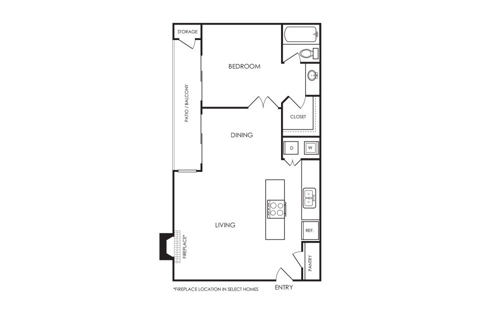 A4 - 1 bedroom floorplan layout with 1 bath and 735 square feet.