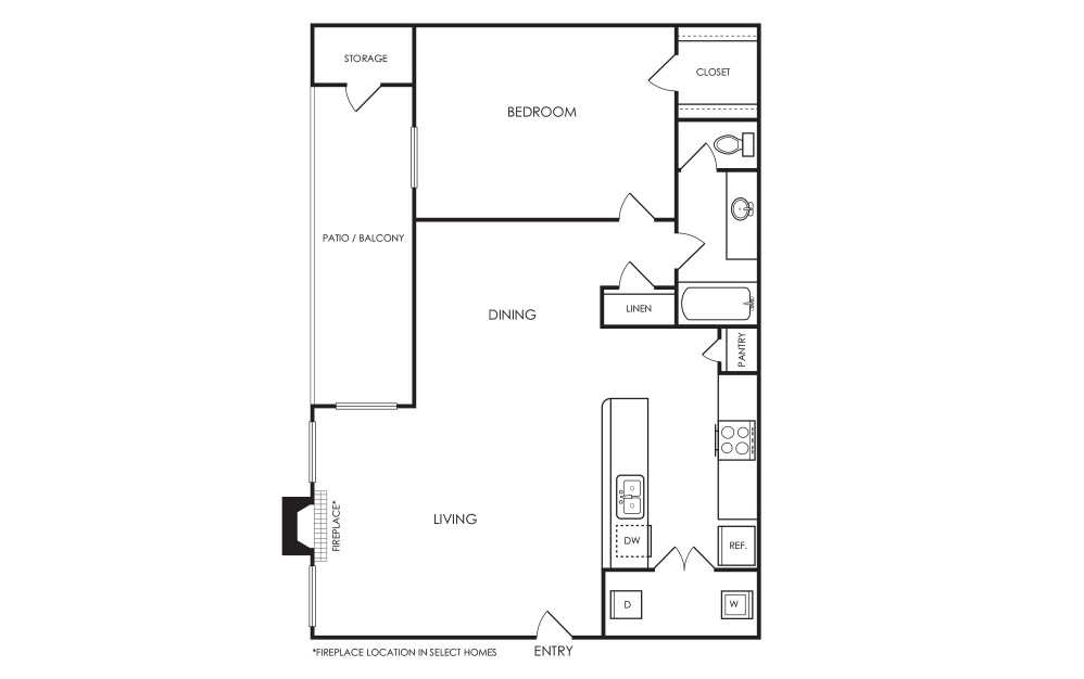 A3 - 1 bedroom floorplan layout with 1 bath and 655 square feet.