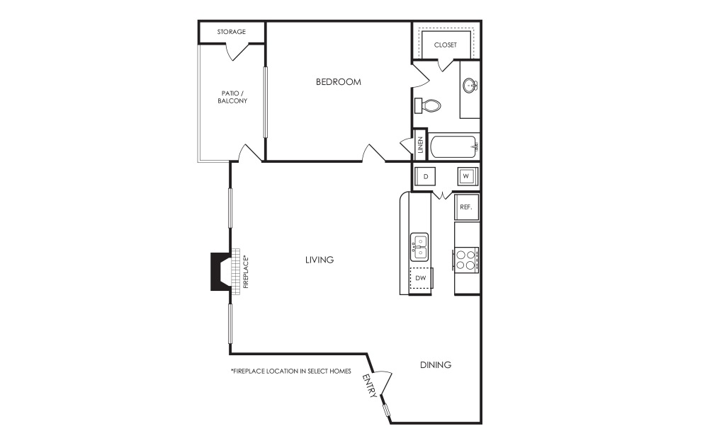 A2 - 1 bedroom floorplan layout with 1 bath and 600 square feet.