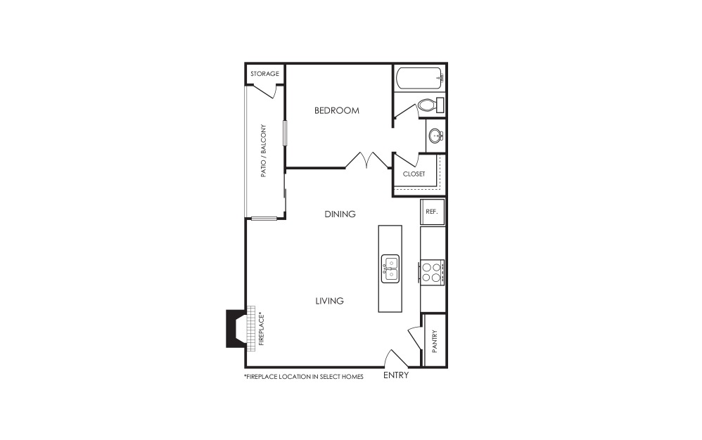 A1 - 1 bedroom floorplan layout with 1 bath and 600 square feet.